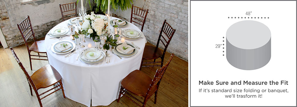 make sure your folding table matches this 48 inch round table cover